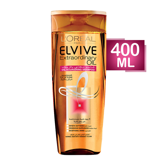 Elvive Extraordinary Oil Shampoo For Normal to Dry Hair - 400 Ml