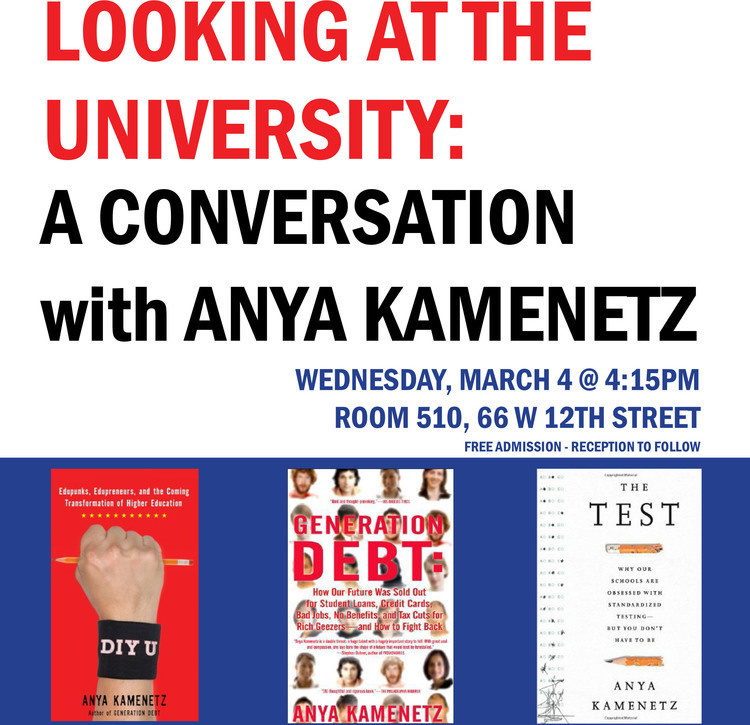 Looking at the University Series: A Conversation with Anya Kamenetz