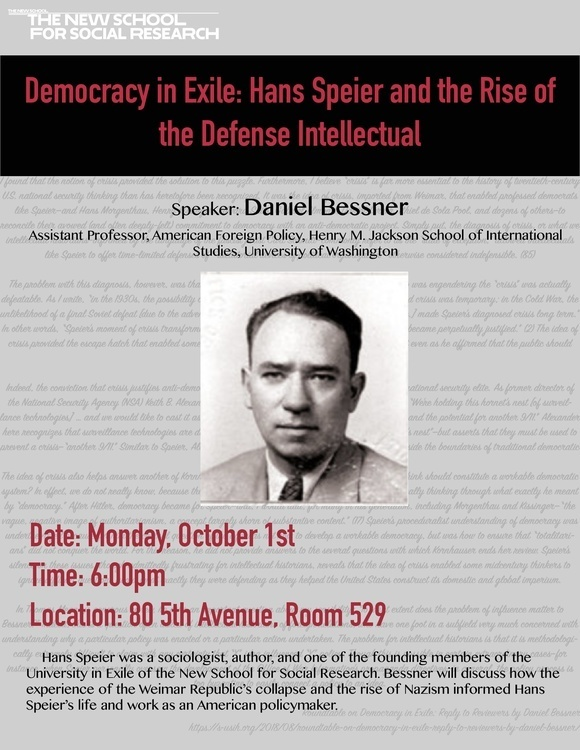 Democracy in Exile: Hans Speier and the Rise of the Defense Intellectual: A Talk by Daniel Bessner