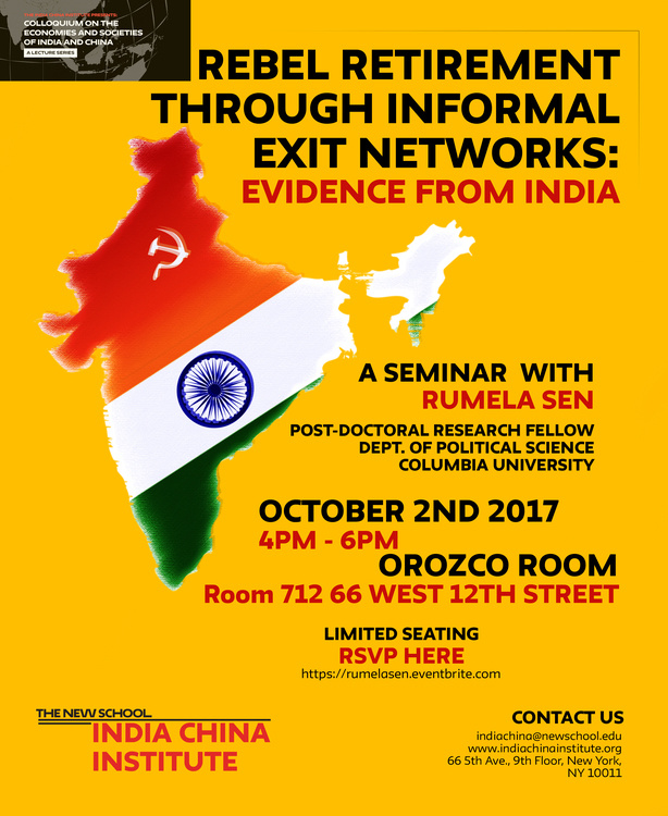 'Rebel Retirement Through Informal Exit Networks: Evidence From India' a Public Talk with Rumela Sen