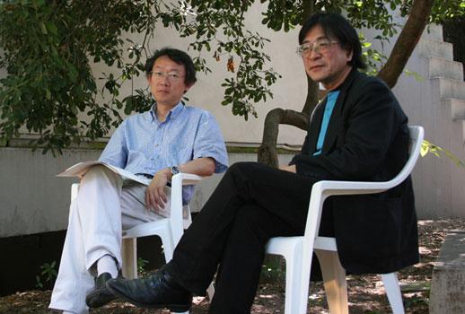 Left: Commissioner Chihiro Minato; Right: Artist Masao Okabe