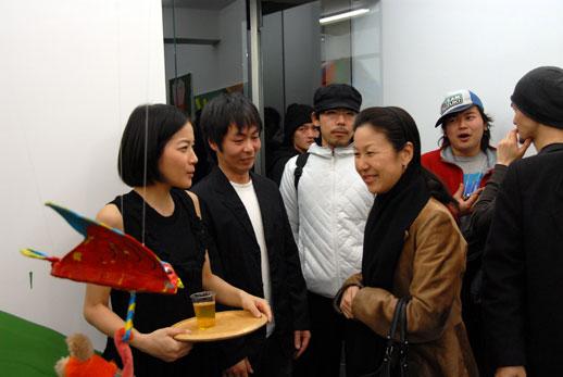 Directors Atsuko Ninagawa (left) and Kazuyuki Takezaki (centre) talk to Atsuko Koyanagi, director of Gallery Koyanagi.