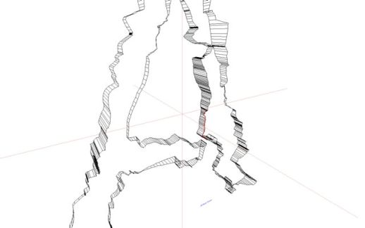Screen capture of the letter 'A' from the font project.  A rendering of the GPS data gathered from bicycling around Shibuya.
