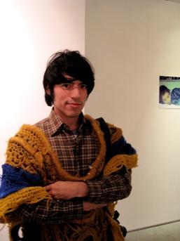 The artist himself in a poncho — very like his native Peru.