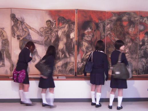 Students examine The Hiroshima Panels