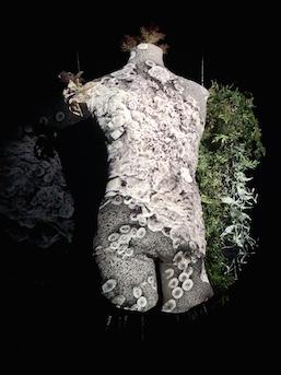 Maki Ohkojima 'Venus' (2020) leather, iron, projection, artificial plants, Artist's Collection