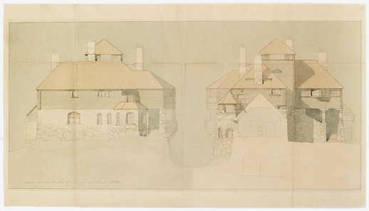 Hvitträsk, north elevation of Lindgren's home (left), south elevation of Lindgren's home (right), cross section of the studio © Gesellius-Lindgren-Saarinen Architect Office, digital reproduction (original watercolor and ink on thick paper), The Museum of Finnish Architecture, 1902