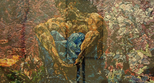 Vik Munis, Демон (сидящий) по работе Врубеля, Серия Картинки из пигмента,(Demon after Vrubel'. Pictures of pigment)