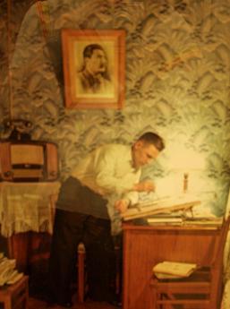 「雑誌『アガニョーク』アーカイヴ」より、《1953年43号同誌掲載スターリン賞受賞者、工場「エコノマイゼル」研磨工、イヴァン・ペトローヴィチ・カルタシェフ》:セミョーン・フリードリャンド