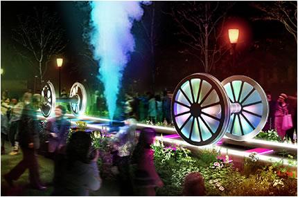 「光のレールウェイ」はフルカラーLEDライトによる光の演出