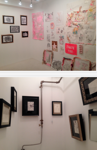 上: 「Gallery JIB」内の様子。下: トイレの壁にも沢山の作品が飾ってあります。