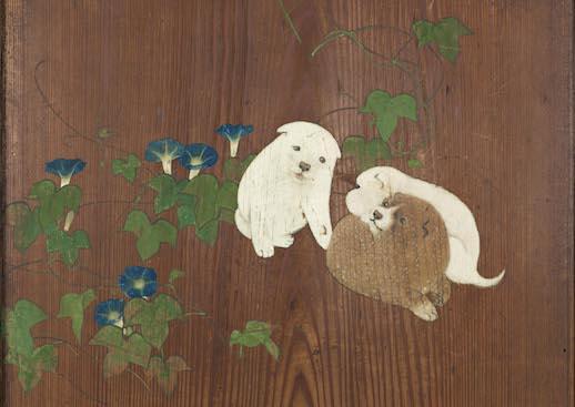朝顔狗子図杉戸(部分) 円山応挙筆 江戸時代・天明4年(1784)