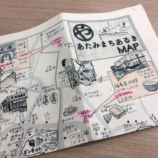 ゲストハウススタッフの方のお手製熱海マップ。とても可愛らしい上にわかりやすい!