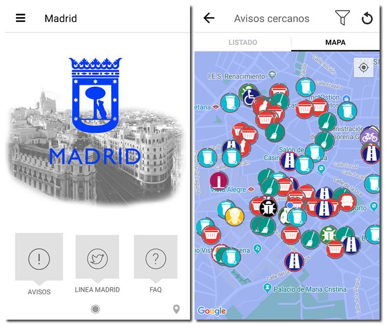 Screenshot of the Avisos Madrid app
