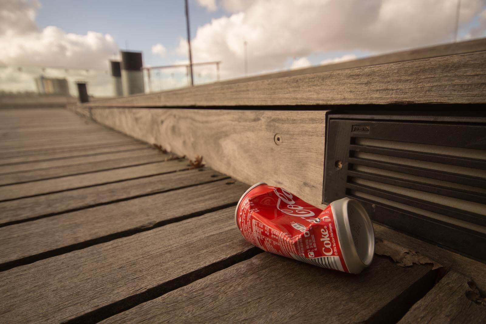 empty soda can trash