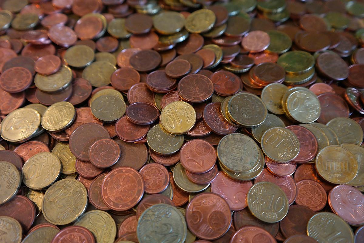 euro cent coins as cash