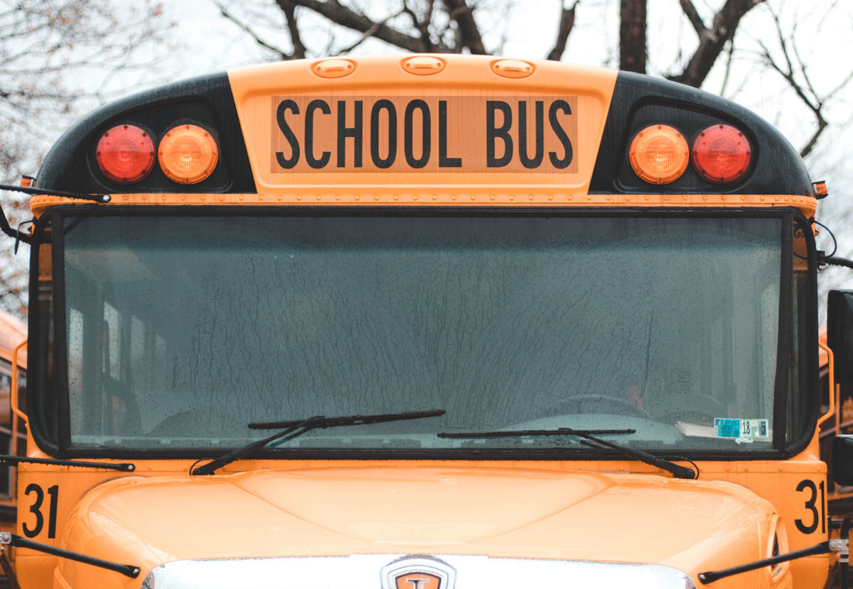School bus with GPS locator