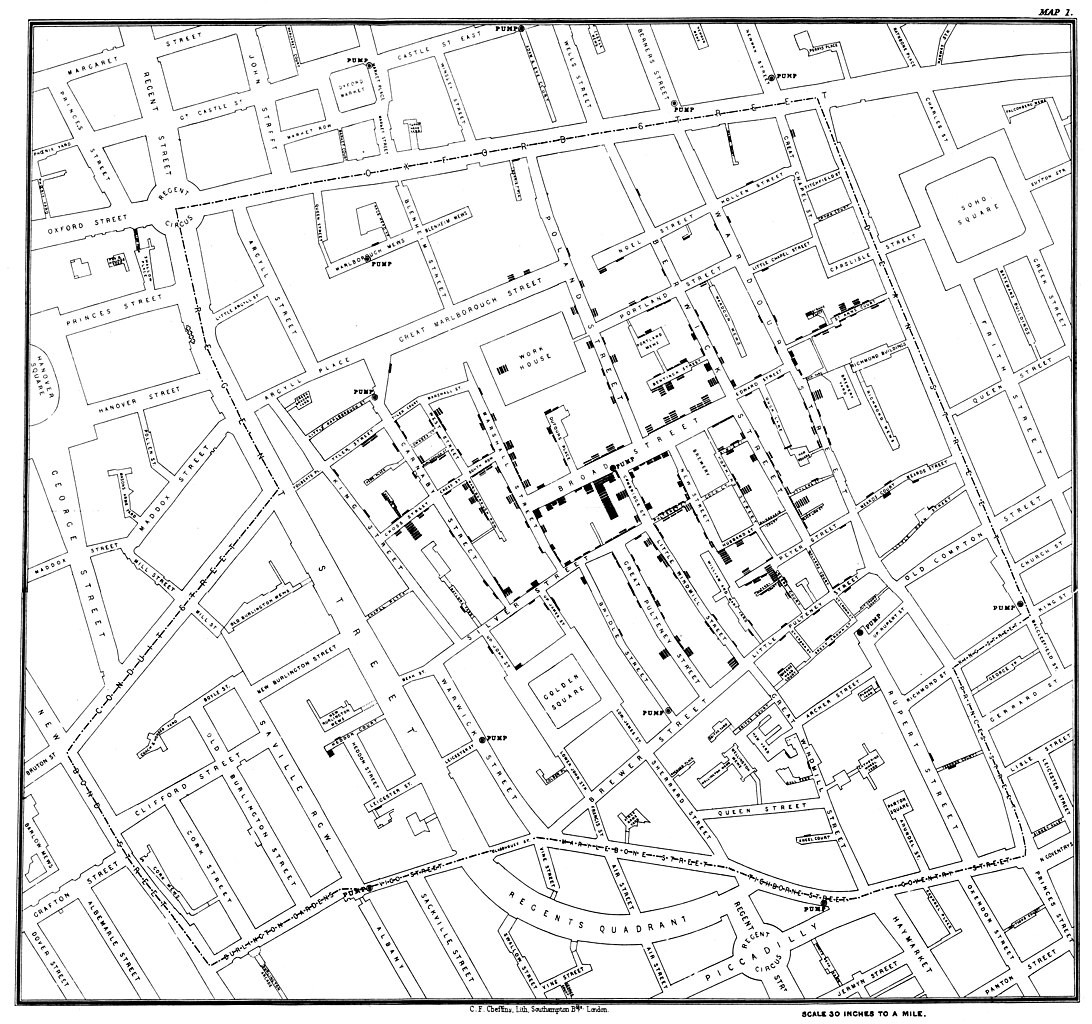 antiguo mapa de londres mostrando epidemias