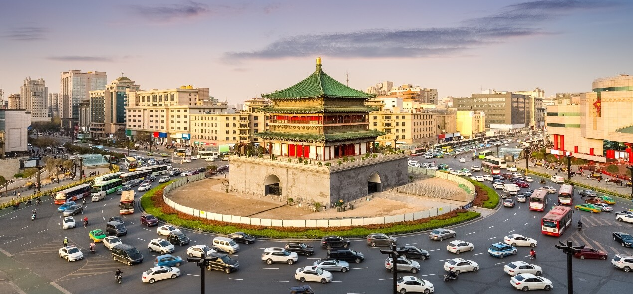 Busy roundabout in Xi'an, China