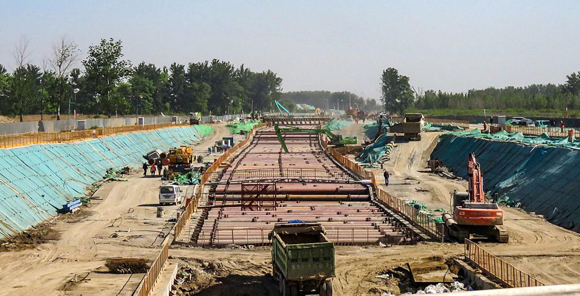Construction of the Beijing-Xiong'an high-speed line (2019)