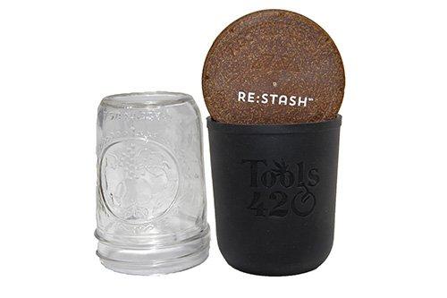 Re-Stash 8 oz Cannabis Storage Jar Black and Brown Open Lid