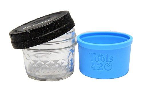 Re-Stash 4 oz Cannabis Storage Jar Blue and Black Open Lid