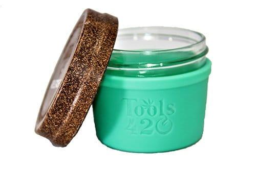 Re-Stash 4 oz Cannabis Storage Jar Green and Brown Open Lid