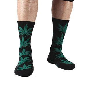 Cannabis Leaf Socks Black & Green Front