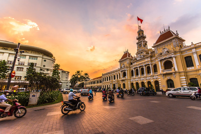 Day 1   548305426 vietnam traffic in front of ho chi minh city hall at twilight