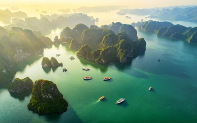 Day 8   shutterstock   1218765286 vietnam aerial view floating fishing village and rock island  halong bay  vietnam