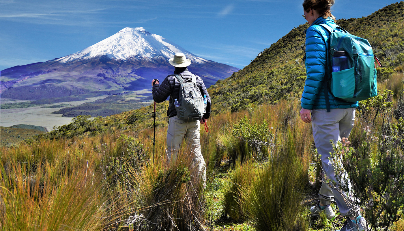Hikers in front of cotopaxi