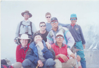 Annapurna expedition group in annapurna b.c with camber and guides 2003