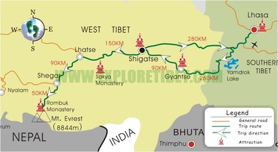 Map of tour  tibet