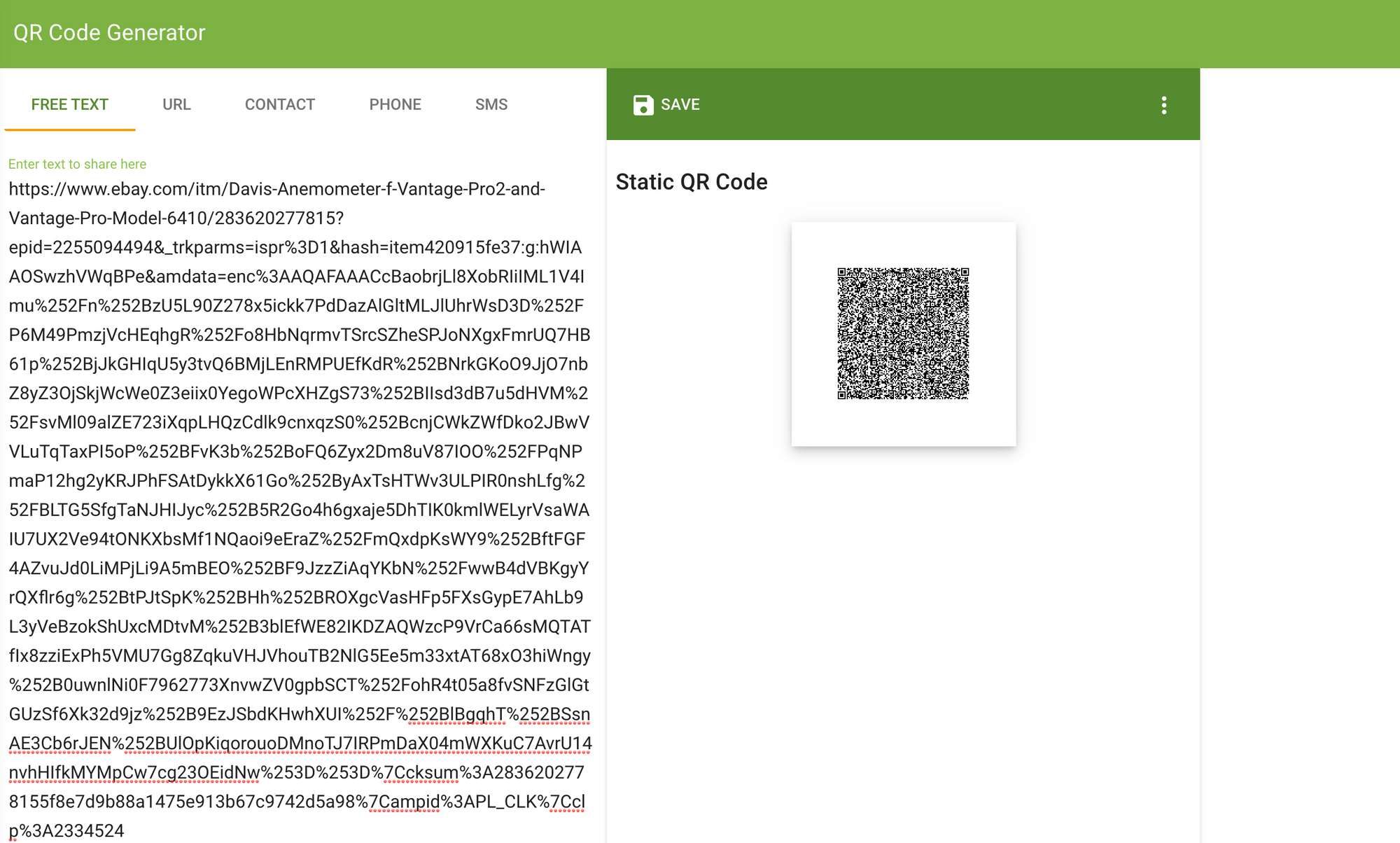 URL and QR code before shortening.
