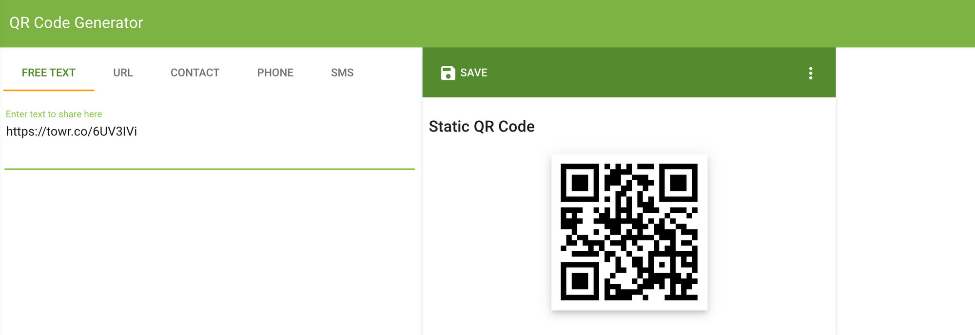 URL and QR code after shortening.