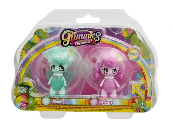 Glimmies Rainbow Friends Blister doppio, Flora & Mousy GLIMMIES Femmina 12-36 Mesi, 3-5 Anni, 5-8 Anni ALTRI
