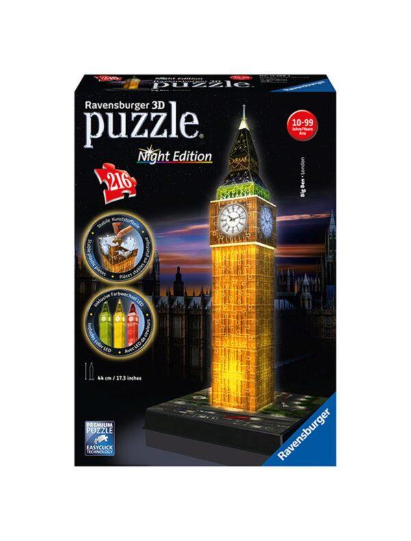 3D Building Big Ben Night Edition RAVENSBURGER PUZZLE 3D Unisex 12+ Anni, 8-12 Anni ALTRI