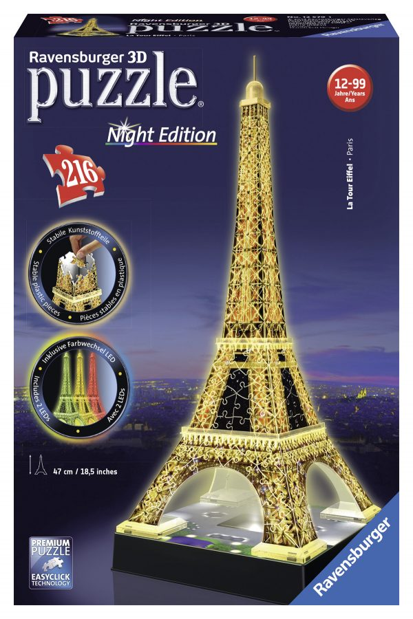 Puzzle 3D Tour Eiffel Night Edition - Ravensburger Puzzle 3d - Toys Center RAVENSBURGER PUZZLE 3D Unisex 12+ Anni ALTRI