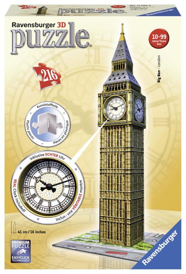 3D Puzzle Big Ben Real Clock - Ravensburger Puzzle 3d - Toys Center RAVENSBURGER PUZZLE 3D Unisex 12+ Anni ALTRI