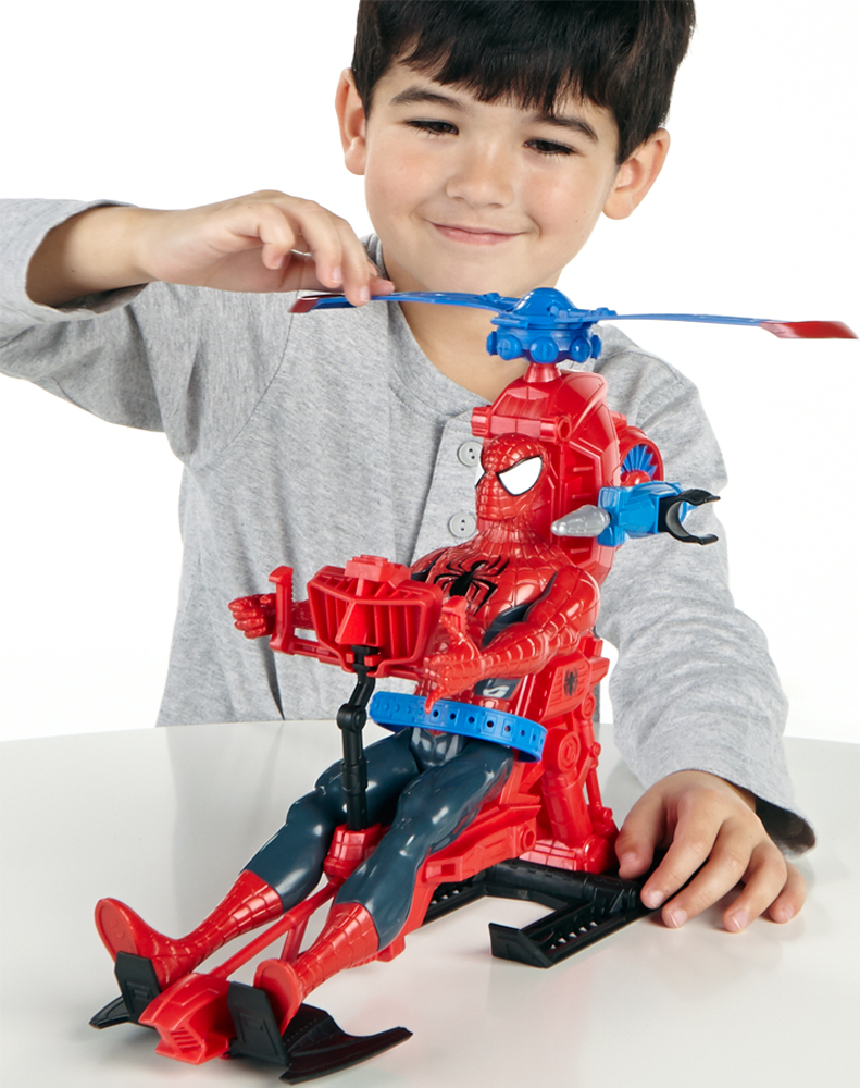 Elicottero + action figure spider-man 30 cm - Marvel
