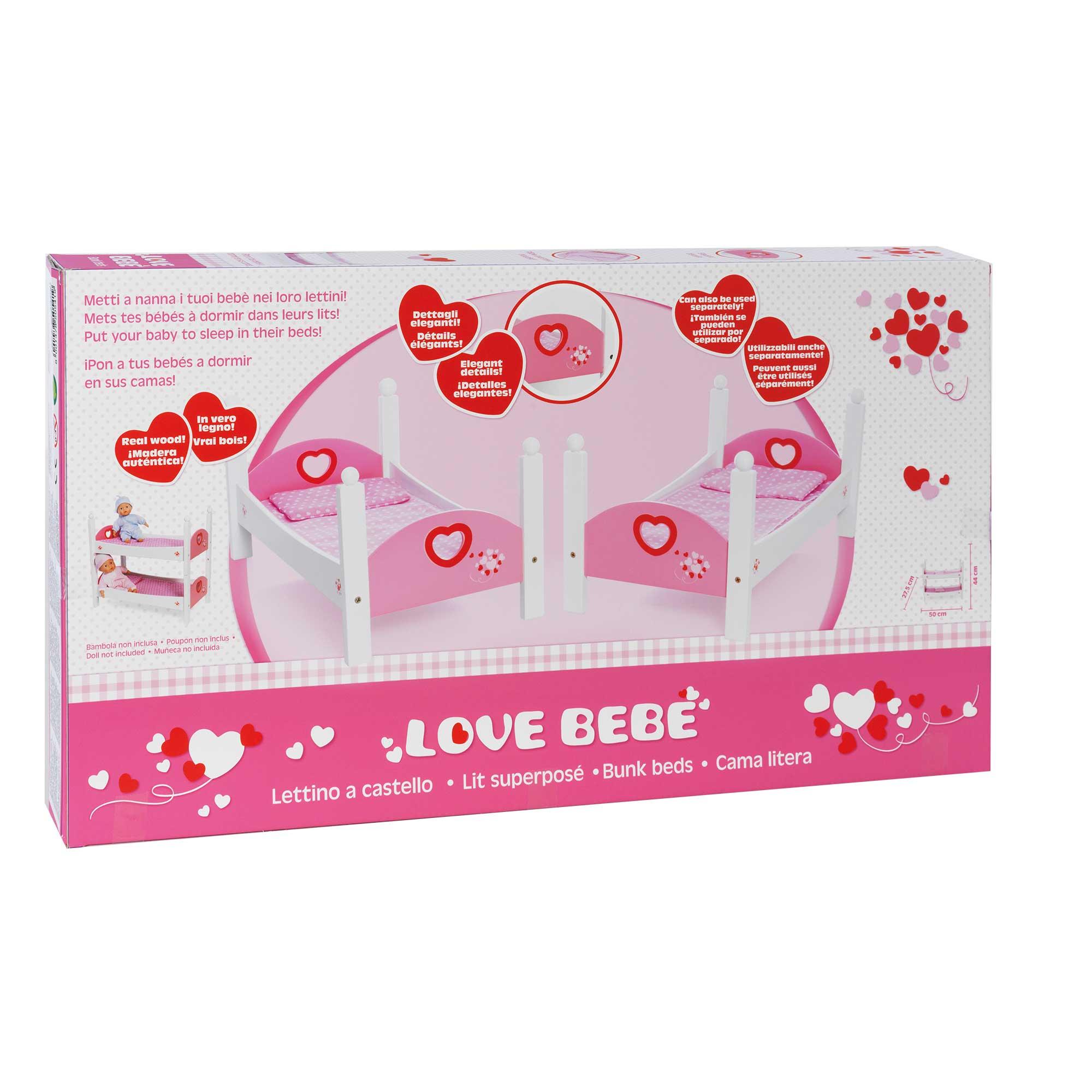 Letto A Castello Per Bambole.Love Bebe Letto Castel Legno Love Bebe Toys Center