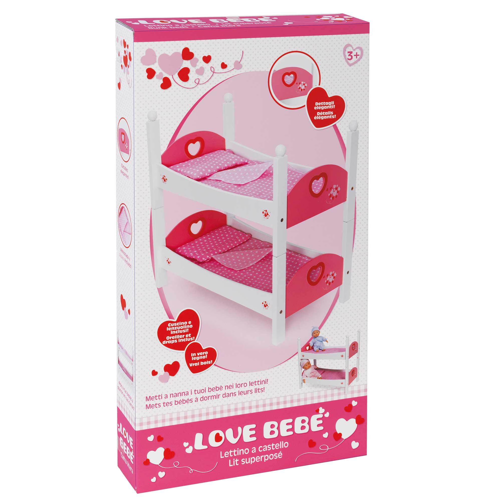 Letto A Castello Bambole.Love Bebe Letto Castel Legno Love Bebe Toys Center