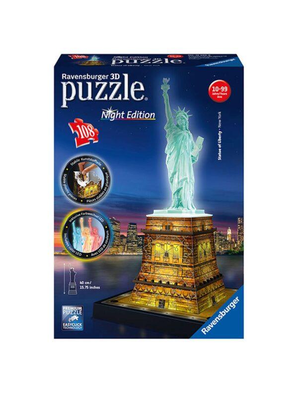 3D Building Statua della libertà Night Edition - Ravensburger Puzzle 3d - Toys Center RAVENSBURGER PUZZLE 3D Unisex 12+ Anni, 8-12 Anni ALTRI