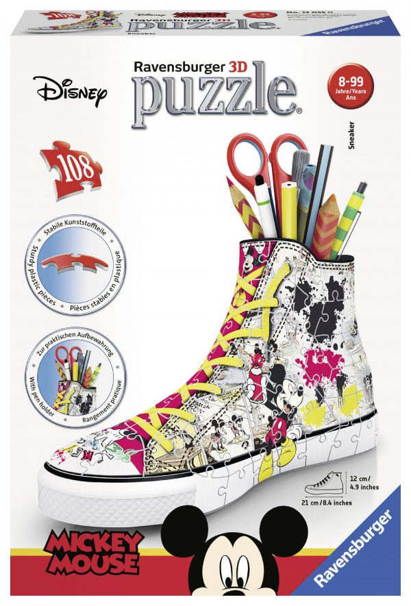 Sneaker Disney Topolino - Puzzle 3D Portapenne Ravensburger 12055 - Best Seller Disney - DISNEY - Marche TOPOLINO&CO. Unisex 12+ Anni, 5-8 Anni, 8-12 Anni RAVENSBURGER PUZZLE 3D