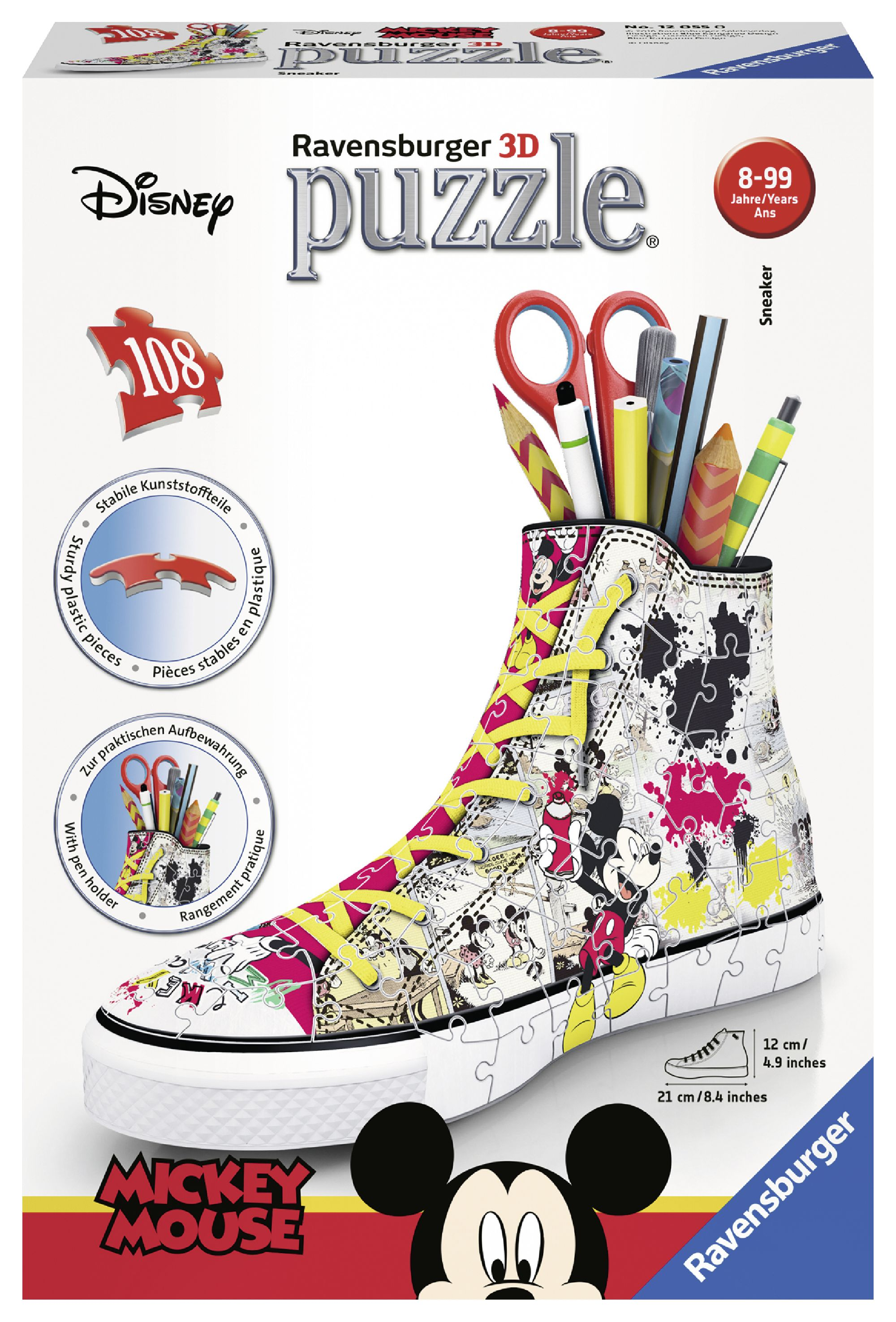 Sneaker disney topolino - puzzle 3d portapenne ravensburger 12055 - best seller disney - disney - marche - RAVENSBURGER PUZZLE 3D