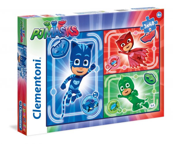Puzzle 3X48 Pezzi PJMasks CLEMENTONI - GIOCHI DA TAVOLO Unisex 3-4 Anni, 5-7 Anni PJ Masks