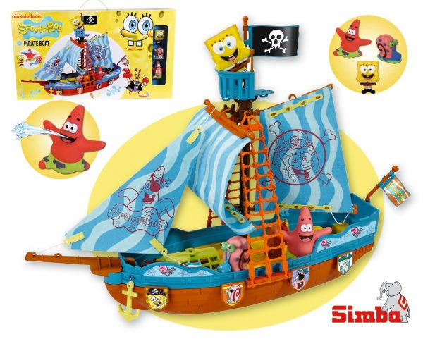 ALTRO SPONGEBOB Spongebob Playset Galeone dei pirati cm. 50 con 3 personaggi spruzzacqua inclusi Unisex 12-36 Mesi, 3-5 Anni, 5-8 Anni