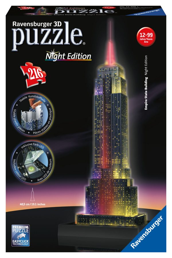 Puzzle 3D Empire State Building Night Edition - Giocattoli Toys Center RAVENSBURGER PUZZLE 3D Unisex 12+ Anni ALTRI