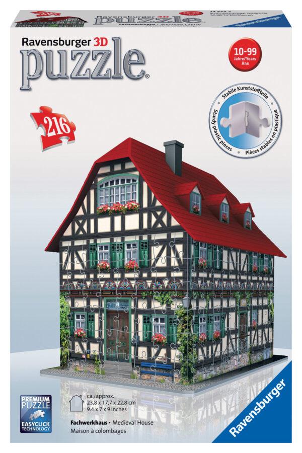 Puzzle 3D Casa Medioevale - Ravensburger Puzzle 3d - Toys Center RAVENSBURGER PUZZLE 3D Unisex 12+ Anni, 8-12 Anni ALTRI