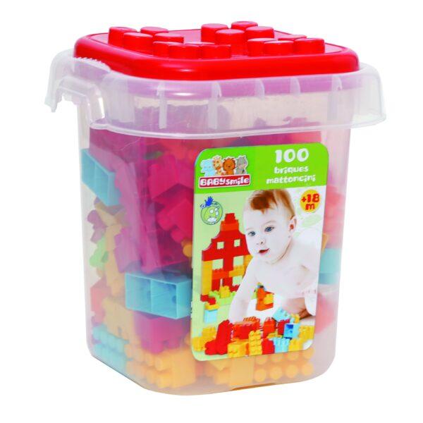 SECCHIELLO 100 MATTONCINI - Baby Smile - Toys Center BABY SMILE Unisex 12-36 Mesi, 3-5 Anni, 5-8 Anni ALTRI
